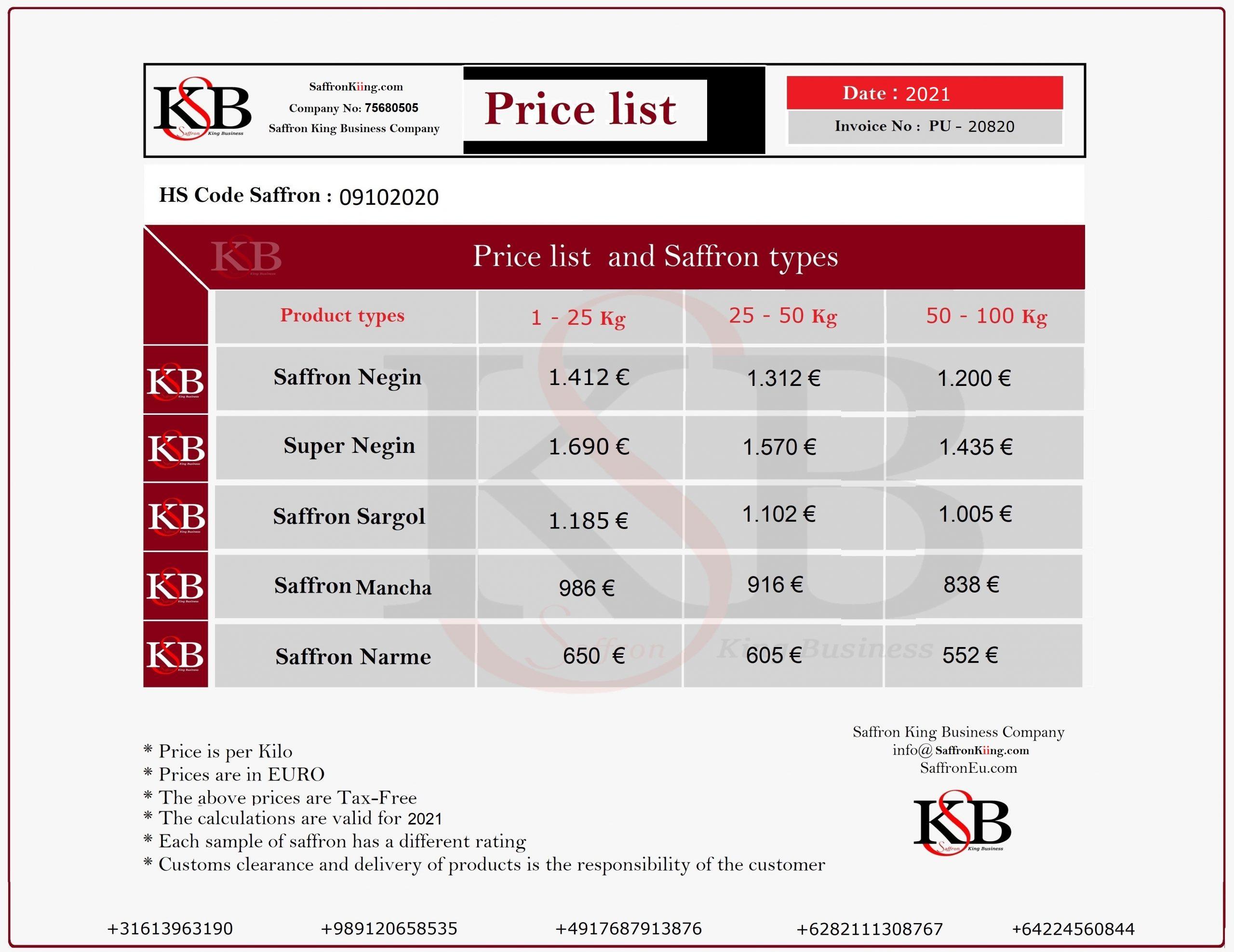قیمت زعفران در آمستردام